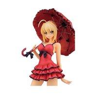 25 cm Kırmızı Seksi Kader Kalmak Gece Saber Şemsiye Aksiyon Figürleri PVC Koleksiyonu Rakamlar Oyuncaklar Noel Hediyesi için T30 Y0705