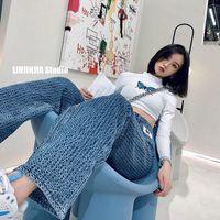 Tileewon moda jeans vintage 2021 mulheres cintura alta streetwear carga jean casual mulher magro jeans lápis calças fundos