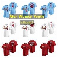 Saint LouisCardinauxMaillots de baseball 4 Yadier Molina Jersey 46 Paul Goldschmidt 1 Ozzie Smith 22 Flaherty Hommes Femmes Taille de la jeunesse S-XXXXL