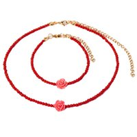 Earrings & Necklace KBJW Romantic Beaded Choker Bracelet Set 3mm Red Coral Jewelry Stainless Steel Metal 18K Gold Plated For Girl