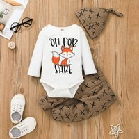 Baby Clothing Set Cartoon Fox Romper+Pants+Hat Outfits Fall 2021 Children Boutique Clothes 0-2T Toddler Boys Cotton Long Sleeves 3 PC Suit