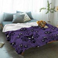 Halloween Grimace Haunted Mansion Bed Cover Blankets Flannel Travel Fleece Throw Wrap Hypoallergenic Improve Sleep Anti-Allergy H0916
