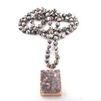 Collane del pendente Moodpc moda gioielli bohemien pietre annodato naturale druzy per le donne collana etnica