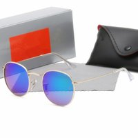 2021 дизайнер Ray мужчины женщин для солнцезащитных очков старинные пилотные бренд группы UV400 запрещает защиту Бен открытый круглый солнцезащитные очки с корпусом # 47