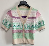 2021 summer thin new contrast color organza corrugated letters short-sleeved sweater cardigan women 505