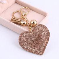 Heart Keychain Leather Tassel Key Holder Metal Crystal Chain Keyring Charm Bag Auto Pendant Gift Wholesale Price Bracelets
