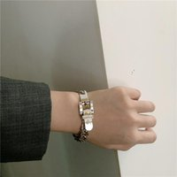 Link, Chain Punk Bracelet For Women Girls Hollow Metal Belt Buckle Fashion Jewelry Harajuku Silver Color 90s Party Gifts