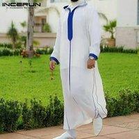 Мужчины мусульманский исламский арабский кафтан лоскутная одежда Дубай Абая Ближний Восточные халаты с капюшоном Свободный повседневный с длинным рукавом Jubba Thobe Этническая одежда
