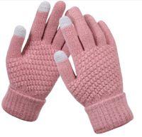 Gants Femmes Homme en laine tricotée Femme Hiver Gardez des mitaines chaudes de mitaines tricot de laine de laine pleine finale tactille cyclisme gants de cyclisme en plein air 2pcs