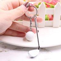 مصغرة مضرب الجولف الكرة قلادة المفاتيح حلقة رئيسية الإبداعية التنس المعدنية كيرينغ النوادي الرياضية مجوهرات هدية الجملة سلاسل المفاتيح