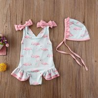 Est Fashion Born Baby Girl Swimwear Hats 2PCS Cute Flamingo Print Swimsuit Swimming Suit Children Kids One-Piece Bikinis One-Pieces