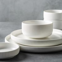 Conjuntos de vajillas Vajilla de cerámica nórdica Mate Esmaltado Estilo japonés Insalada Placa plana de sopa de ensalada