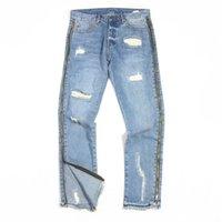 Jeans sottili con cerniera laterale di alta qualità Slim jeans lavato Pantaloni blu Streetwear