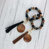 Party Favor 20pcs lot Blank Wood Leopard Beads Wooden Disc Wristlet Keychain With Suede Tassle Personalize