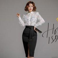 Two Piece Dress 2021 Runway High Quality Women's Slim Single Breasted Tassels Shirt+Fashion Belt Sexy Short Skirt 2 Set Vestidos