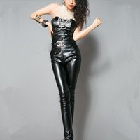 Women's Jumpsuits & Rompers 2021 Fashion Elegant Sexy Tube Top Black PU Leather Jumpsuit Women Summer Sleeveless Skinny Jump Suit