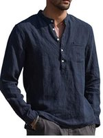 Men's Casual Shirts QIWN 2021 Long-Sleeved Summer Solid Color Cotton Linen Stand-Up Collar Beach Style Plus Size