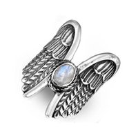 Wedding Rings Cute Angel Wing Big Engagement Ring Vintage Male Female White Oval Moonstone Charm Silver Color For Women Men