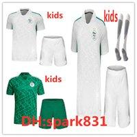 Çocuklar Cezayir Futbol Formaları 2021 2022 Enfant Ev Uzakta Futbol Kiti Mahrez Atal Slimani Brahimi Bennacer Kitleri Maillot De Ayak Üniformaları