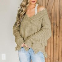 Winter Tassel Sweater Women Warm Knitwear V-neck Off Shoulder Tops Long Sleeve Outfit Fashion Casual Pullovers Braided Sweaters Women's