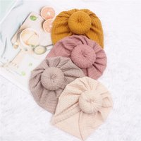 Caps & Hats Knot Baby Winter Hat For Kids Girl Hollow Breathable Autumn Infant Boy Bonnet Solid Color Soft Toddler Turban Beanies Cap