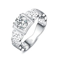 Wedding Rings 925 Sterling Silver For Women Fine Shining Crystal Square Fashion Party Gifts Girl Student Charm Good Jewelry