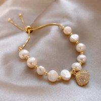 Pulsera de perlas de agua dulce Pulsera Femenino Exquisito Estudiante Novias Simple EUROPEO Y Americano INS Designer Pulseras Temperamento Salvaje Joyería de Lujo