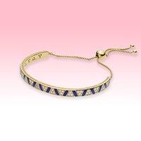 الأزرق شريط الذهب مطلي أساور النساء مجوهرات الزفاف باندورا 925 فضة سوار مع مربع الأصلي جودة عالية