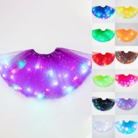 Skirts Womail Women's Fashion Casual LED Lights 3 Layer Of Stars Mesh Puffy Solid Skirt Ballerina Mini Ball Gown Skirtes Mujer Faldas
