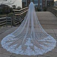 Bridal Weits Real POS 4 метра однослойного собора длинные роскошные кружевные кромки кромки свадьбы с гребенью для невесты 1T 3 5 м