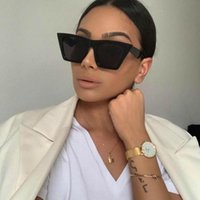 Sonnenbrille EVRFELAN RETRO SQUARE Marke Dessinger Cat Eye Sun Eyewear Chic Große Rahmenbrille Für Frauen Oculos UV400