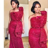 2021 Sexy Aso Ebi Arabic Red Burgundy Sparkly Sequins Evening Dresses Beaded Crystals Mermaid Prom Dress Sequined Formal Party Bridesmaid Pageant Gowns