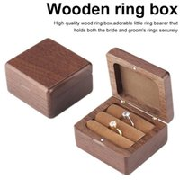 Caja de joyería de madera de nuez Cubierta magnética creativa Pareja de madera Pendiente de anillo Pendiente de joyería Estuche de almacenamiento Cajas de regalo