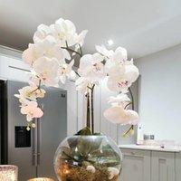 Dekoratif Çiçekler Çelenk Ipek Yapay Kelebek Orkide Çiçek Buketi Phalaenopsis Sahte Ev Düğün Dekorasyon DIY El Sanatları Dekor