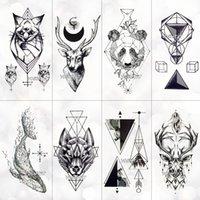 Черный геометрический кит временная татуировка луна олень розовый татуировки наклейки женские вечеринки кузовные руки искусство поддельных татуировки листьев мужчины цветочные руки