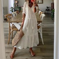 Party Dresses Summer Women Patchwork Hollow Out Holiday Dress Casual Half Sleeve V-Neck Lady Long Vintage Femme Streetwear Loose Vestido