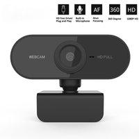 HD 1080P 웹캠 미니 컴퓨터 PC 웹 카메라 마이크로폰 회전식 카메라 라이브 방송 비디오 전화 회의 작업
