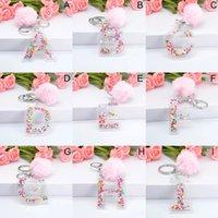 Pink Pompom Letter Keychains English Alphabet Key ring Ball Glitter Gradient Resin Cute Key Chains Rings Car Handbag Gifts
