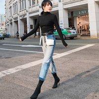 Women's Jeans Calça jeans feminina vintage de cintura alta com zíper, calça lisa zíper e botão l264, nova, moda urbana, VTV3