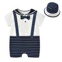 Boys Rompers Baby Boy Clothes Gentleman Summer Cotton Short Sleeve Bodysuits Birthday Infant Jumpsuit Hats 2Pcs One Piece Clothing Newborn Wear B7442