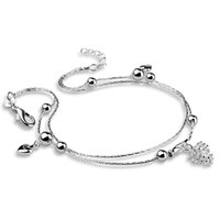 Mode 925 Sterling Silver Pinecone Anklet Dames Charm Dubbele Lijn MS Voet Ornamenten Geschikt voor Vriendin