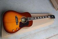 배송 도매 클래식 John Lennon 70th J-160E 어쿠스틱 일렉트릭 기타 체리 썬 버스트 기타 @ 12