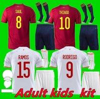 Adult Kids 2020 2021 España Rodrigo Paco Alcacer Ferran Koke Soccer Jerseys Espagne Morata Ramos Iniesta Saul Thiago Gaya Camisetas de Futbol