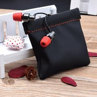 Mini Earbuds Protective Package Case Headphone Accessories Storage For Cable Portable PU Leather Earphone Bag Bags