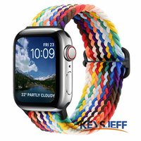 Braided Strap Compatible with Apple Watch Bands 45 41mm 44 40mm 42 38mm Elastic Solo Loop Sport Bands for iWatch Series 7 6 5 4 3 2 1 SE 84007-2