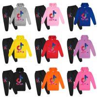 Tiktok الملابس الرياضية قطعتين رياضية مقنعين الزي 100-170 أطفال الطفل في سن المراهقة تيك توك توك هوديي البلوز وتتبع السراويل الرياضة لعب البدلة الملابس 9 ألوان G4YCY4S