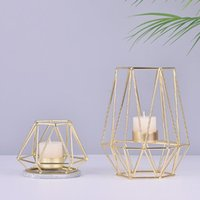 Candle Holders Gold Iron Candleholders Geometric Candlestick Metal Tealight Votive Cup Home Decoration