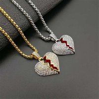 Pendant Necklaces Hiphop Iced Out Broken Heart Necklace With Stainless Steel Chains For Women Men's Hip Hop Bling Jewelry Drop
