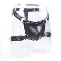 Leather Male Chastity Belt Adjustable Chastity Device Bdsm Scrotum Bondage Underwear Cbt Men Leather Harness Sex Toys For Men Y0406