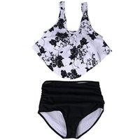 Women's Swimwear 2021 Sexy Women High Waist Bikini Swimsuit Breast Contrast Gradient Split Set One Piece